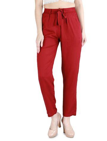 DEVS AND DIVAS | DEVS AND DIVAS Burgundy Rayon Cool Pant for Women