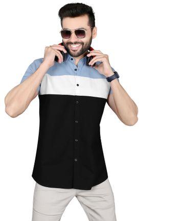 5th Anfold | FIFTH ANFOLD Mens Casual Slim Horizontal Striped Half/Short Sleev Slim Fit Shirt