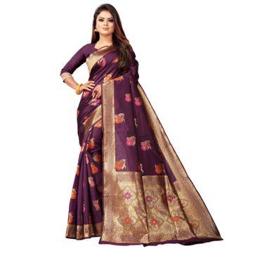 POONAM TEXTILE | Banarasi Jacquard Silk Blend Purple Festive Woven Saree