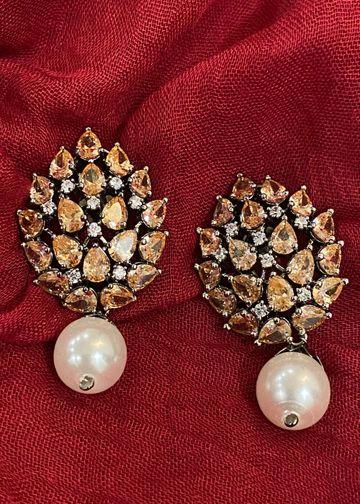 Swabhimann Jwellery   Swabhimann Jwellery Turtle Shell Studs Sandstone with Pearl Drop