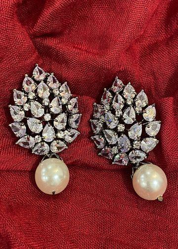 Swabhimann Jwellery   Swabhimann Jwellery Turtle Shell Studs White with Pearl Drop