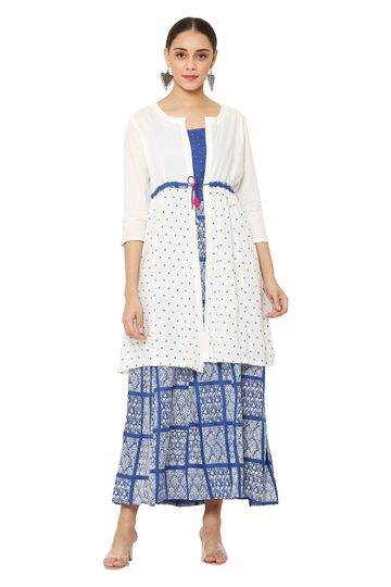 GAYRAA | Printed ankle length blue kurta with white shrug