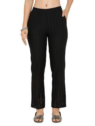 De Moza | De Moza Women's Straight Pant Woven Bottom Solid Cotton Black