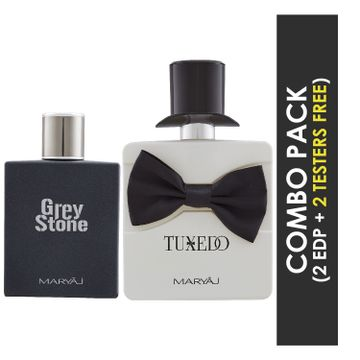 Maryaj | Maryaj Grey Stone Eau De Parfum Aromatic Woody Perfume 100ml for Men and Maryaj Tuxedo Eau De Parfum Spicy Woody Perfume 100ml for Men+ 2 Parfum Testers FREE