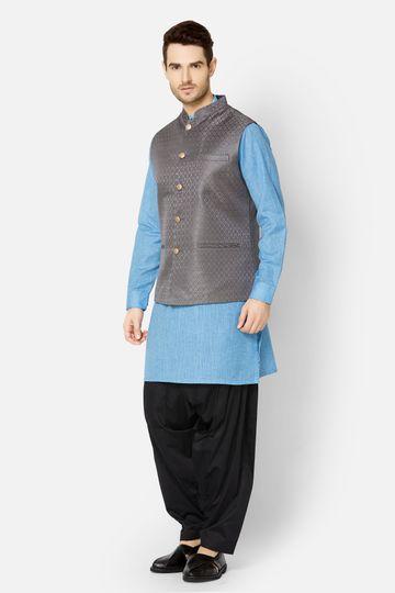 Ethnicity | Black self textured sleeveless jacket