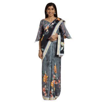 SATIMA | Satima Black Cotton Floral Print & Zari Saree