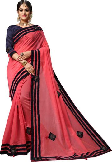 JINAL & JINAL | JJ Women's Pure Cotton Saree with Embellished Stone Work and Applique Butta Embroidery - PINK