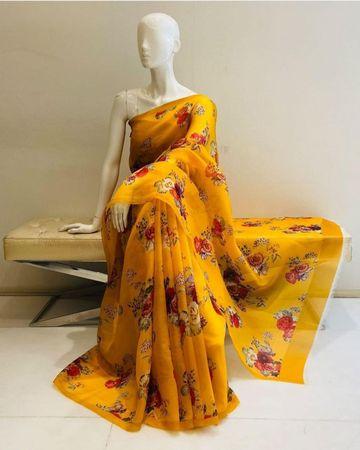 SATIMA | Yellow color grogatte Digtel print saree