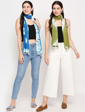 Get Wrapped | Get Wrapped Tie-Dye Scarves with Tassels for Women - Combo Pack of 2