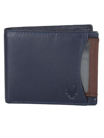 WildHorn   WildHorn RFID Protected Genuine High Quality Leather Blue Wallet for Men