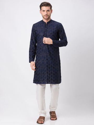 Ethnicity | Ethnicity Navy Polyester Cotton Men Kp Set