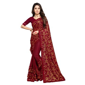 SATIMA   Women Designer Maroon Lycra Blend Printed Saree