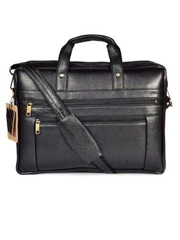 WildHorn | WildHorn 100% Genuine Leather Black Laptop Bag for Men