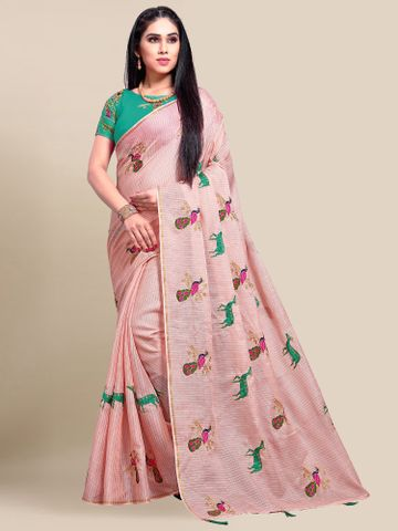SATIMA | Women's Pink Embroidery Cotton Linen Solid Saree