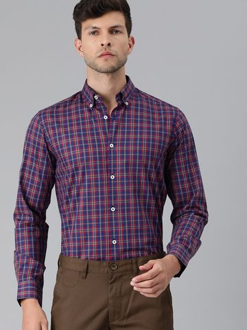 The Bear House | Men Navy Blue & Red Slim Fit Checked Giza Cotton Formal Shirt