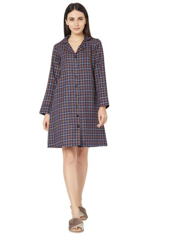 Smarty Pants | Smarty Pants women's cotton brown checkered lapel collar button down nightdress
