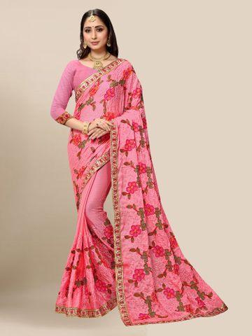 SATIMA | Women Embroidered Pink Chiffon Half N Half Saree