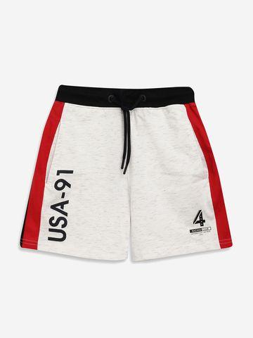 OCTAVE   Boys WHITE MELANGE Shorts
