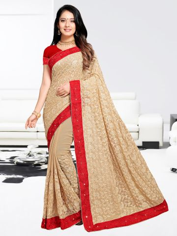 SATIMA | Designer Red Georgette Woven Saree