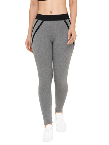 De Moza   De Moza Women's Ankle Length Leggings Solid Cotton Dark Grey Melange