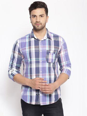Showoff | SHOWOFF Men's  Cotton  Blue ColourBlock Slim Fit Shirt