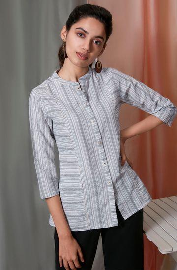 Janasya   Janasya Women's White Weaved Cotton Top