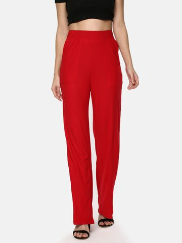Y CAN F | YCANF Women's Casual Red Palazzos
