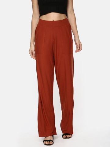 Y CAN F | YCANF Women's Casual Rust Palazzos