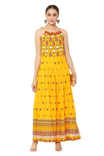 GAYRAA | Printed Flared ankle length yellow kurta