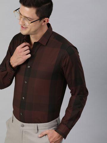 The Bear House | Men's Maroon Checkered Formal Shirt