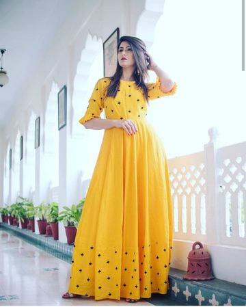 GAYRAA | Gayraa Women's yellow rayon embroidered anarkali kurta