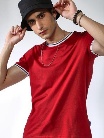 Blue Saint | Blue Saint Men's Red Regular Fit T-Shirts