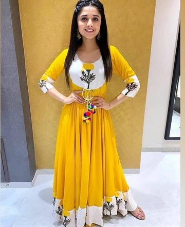 GAYRAA | Printed Anarkali ankle length yellow kurta