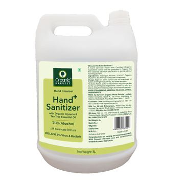 Organic Harvest | Organic Harvest Instant Anti - Bacterial Gel Hand Sanitizer & Hand Cleanser with Organic Glycerin & Tea Tree Essential Oil, 70% Alcohol, Kills 99.9% Virus & Bacteria, 5L