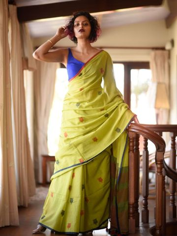 SATIMA | Satima Woman'S Yellow Linen  Printed  Saree