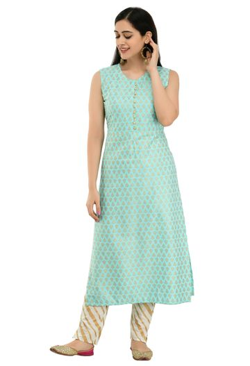 GAYRAA | Gold printed straight Aqua blue kurta with pant