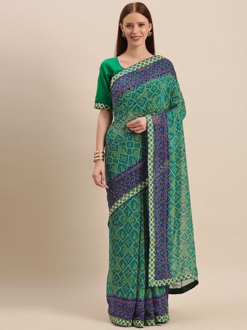 SATIMA | Green  Georgette Bandhani Print & GotaPatti Saree