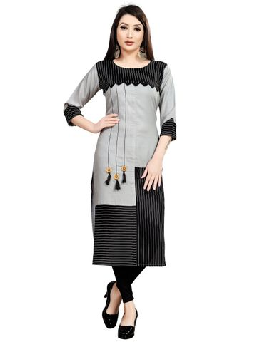 SATIMA | Women's Grey Black Straight Striped Printed Rayon Kurta