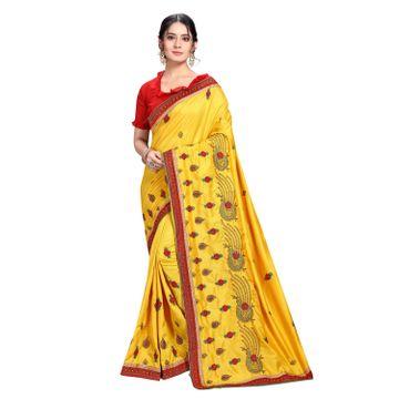 SATIMA | Designer Yellow Silk Blend Leheriya Embroidered Saree