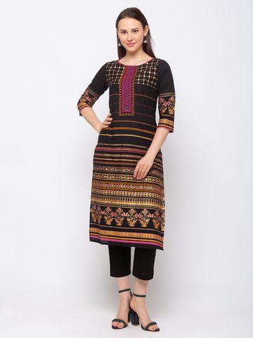 Ethnicity | Ethnicity Cotton Straight Women Black Kurta