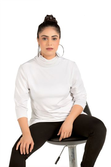 EUDORA CUT | White Asymmetrical Cowl Neck Sweatshirt