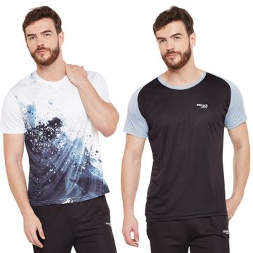 Masch Sports | Masch Sports Mens Polyester Printed & Colourblocked T-Shirts - Pack of 2 (Black,White& Light Grey)