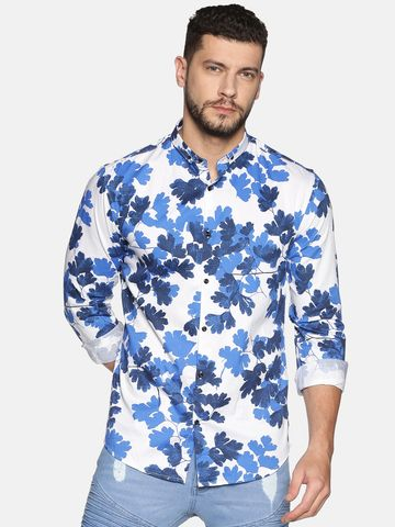 Showoff | SHOWOFF Men's Cotton Casual Blue Printed Slim Fit Shirt