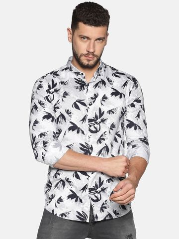 Showoff | SHOWOFF Men's Cotton Casual Grey Printed Slim Fit Shirt