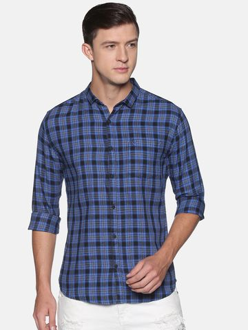 Showoff | SHOWOFF Men's  Cotton Casual Blue Checks Slim Fit Shirt