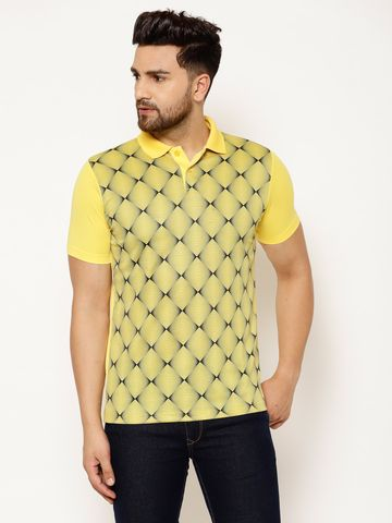 Eppe | EPPE Men's Polo Neck Yellow Black Super Soft Micro Polyester Half Sleeves Sports Casual T-Shirt