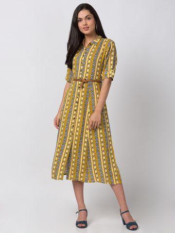 Ethnicity | Ethnicity Yellow Rayon Women Kurta