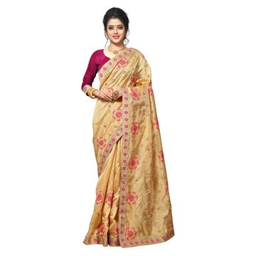 SATIMA | WOMEN'S SELF DESIGN BEIGE PINK MIX SILK BLEND SAREE