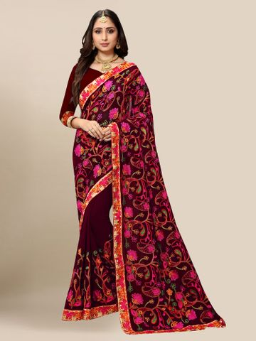 SATIMA | Women Maroon Georgette Embroidered Party Saree