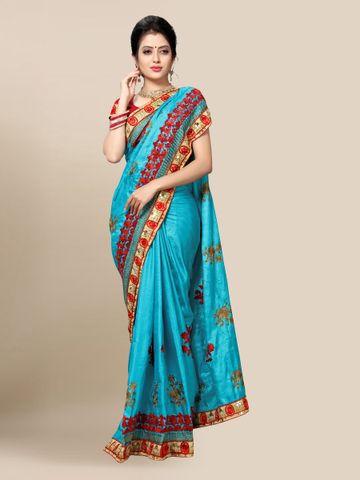 SATIMA   Designer Blue Silk Blend Embroidered Saree